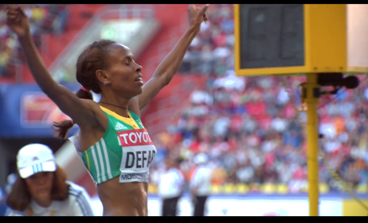 Meseret Defar wins gold in 5000 m in Moscow 2013