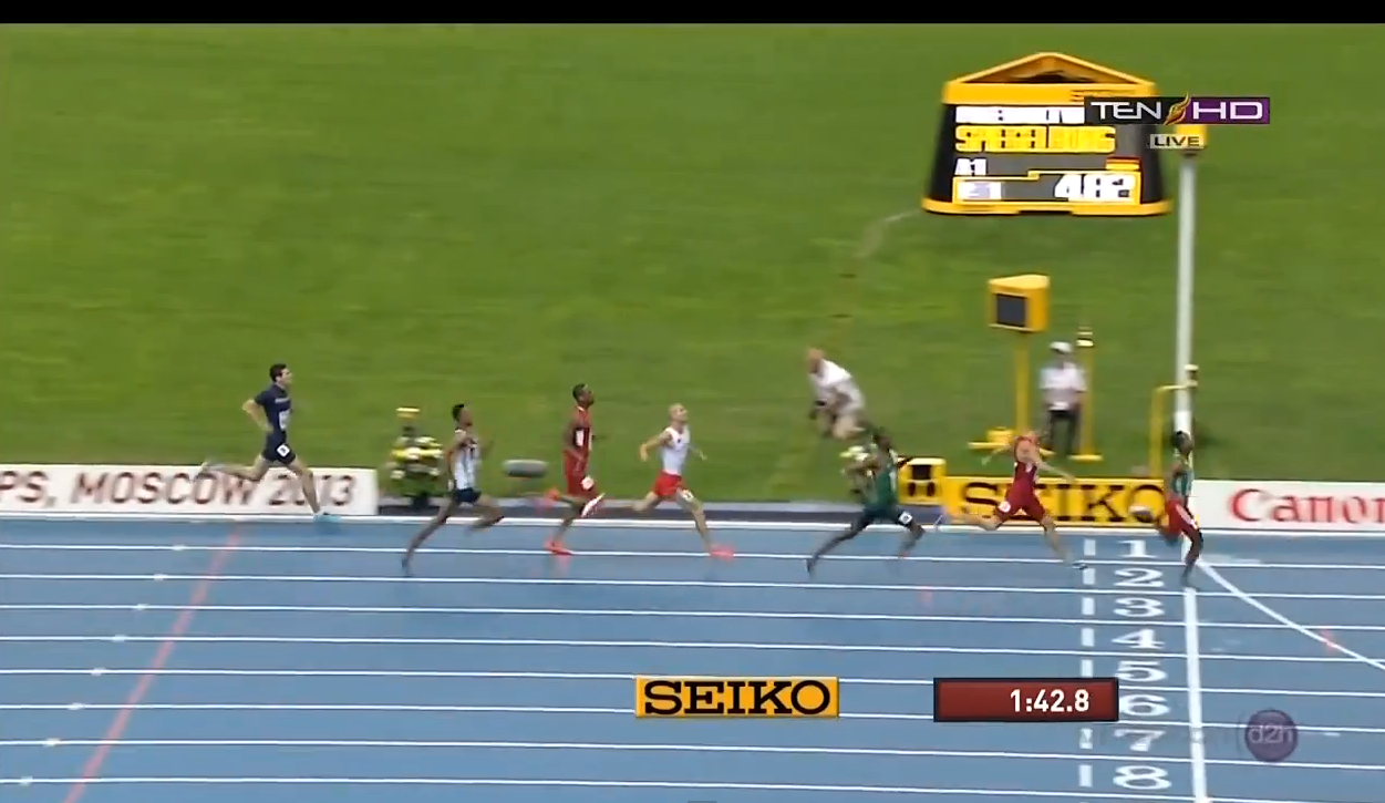 Mohammed Aman wins gold in 800 m in Moscow 2013