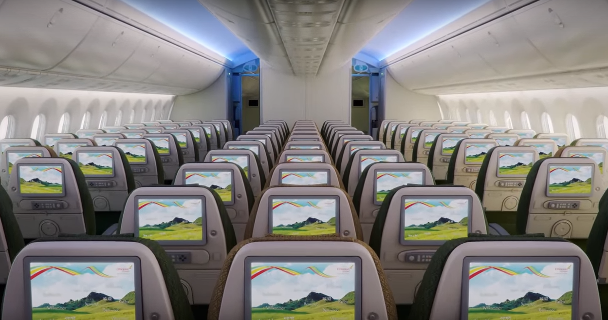 Ethiopian Airlines Boeing 787 Dreamliner cabin interior